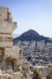 View of Mount Lycabettus from the Parthenon royalty free stock photo