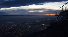 View from Mount Mashuk Pyatigorsk city. These photos were taken during my stay in the city of Pyatigorsk. One day I climbed to the top of Mashuk Mountain at the Stock Photo