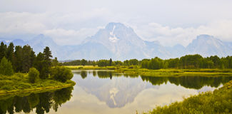 A View of Mount Moran and Skillet Glacier Stock Photos