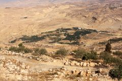 View from Mount Nebo. Desert view from Mount Nebo in Jordan Royalty Free Stock Photo