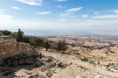 View from Mount Nebo on the Jordanian landscape and Dead Sea near the city of Madaba in Jordan stock image