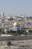 View from the Mount of Olives of The Temple Mount. The Temple Mount, also know as Mount Moriah in Jerusalem, Israel.  It is located in the Old City in Jerusalem Stock Image