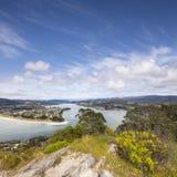 Coromandel New Zealand. The view from Mount Paku, Tairua, looking down on Pauanui, Coromandel, New Zealand Stock Photography
