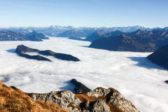 View from Mount Pilatus. And clouds like snow. View from Mount Pilatus. And clouds like snow Royalty Free Stock Photo
