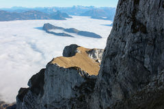 View from Mount Pilatus. And clouds like snow. View from Mount Pilatus. And clouds like snow Royalty Free Stock Photography