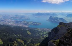 View from Mount Pilatus to Lake Lucerne, Switzerland Stock Photography