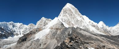View of Mount Pumo Ri and Kala Patthar - way to Everest View of Mount Pumo Ri and Kala Patthar Stock Photos