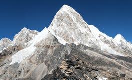 View of Mount Pumo Ri and Kala Patthar - way to Everest View of Mount Pumo Ri and Kala Patthar Stock Image