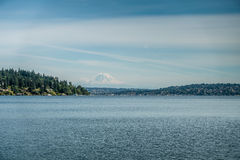 View Of Mount Rainier From Seward Park Stock Image