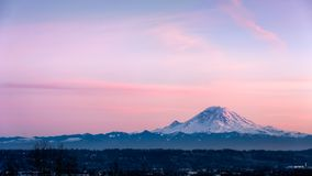 View of Mount Rainier in the State of Washington. royalty free stock photography