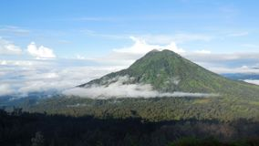 The view of the Mount Raung from Mount Ijen stock photo