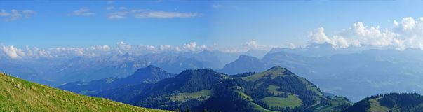 Panoramic of the Swiss Alps in autumn stock image