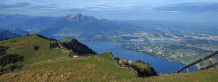 View from mount Rigi towards mount Pilatus and Lucerne Royalty Free Stock Photos