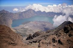 View from Mount Rinjani, taken with fish eye lens, Mount Rinjani is an active volcano in Lombok, Indonesia. View from Mount Rinjani, taken with fish eye lens royalty free stock photography