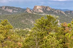 View of Mount Rushmore National Memorial From Custer State Park in South Dakota, USA. View of Mount Rushmore National Memorial and Surrounding Landscape From stock photo