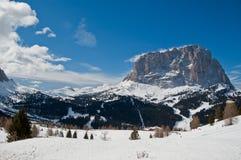 View of Mount Sassolungo. Winter landscape on the Sella Pass and Sassolungo, Dolomites - Italy royalty free stock photos
