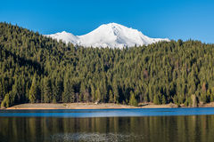 View of Mount Shasta peaks with alpine forest and lake Stock Image