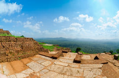 View from mount Sigiriya, Sri Lanka (Ceylon). Royalty Free Stock Photo