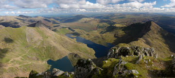 View from mount Snowdon. Panorama view from Snowdon summit in Wales, UK Stock Image
