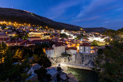 View of Mount Srd and Dubrovnik at dark Stock Photography