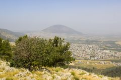 A view of Mount Tabor in Israel from the Mount Precipice Israel royalty free stock photos