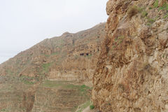 View the Mount of Temptation in Jericho. Stock Images