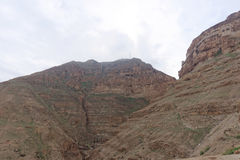 View the Mount of Temptation in Jericho. Stock Photo