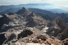 View from Mount Triglav in the Julian Alps, Slovenia. Royalty Free Stock Image