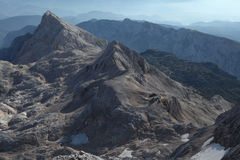 View from Mount Triglav in the Julian Alps, Slovenia. Royalty Free Stock Photos