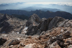 View from Mount Triglav in the Julian Alps, Slovenia. Stock Image