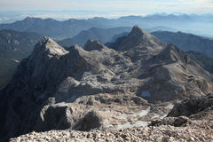 View from Mount Triglav in the Julian Alps, Slovenia. Royalty Free Stock Photo