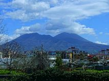 View of Mount Vesuvius from the motorway from Naples to Sorrento in Southern Italy. Sorrento is a small city in Campania, Italy, with some 16,500 inhabitants royalty free stock images