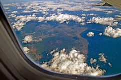 View of Mount Vesuvius and the seafront from the plane Stock Images
