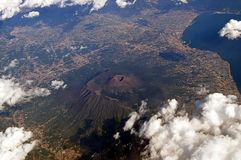 View of Mount Vesuvius and the seafront from the plane Stock Photo