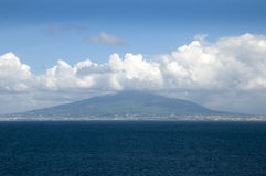 View of Mount Vesuvus and the Bay of Naples Italy. The brooding presence of Vesuvius with Naples at its foot royalty free stock photo