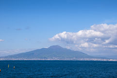 View of Mount Vesuvus and the Bay of Naples Italy. The view from the cliffs of Sorrento overlooking the Bay of Naples Italy stock images