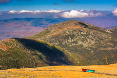 View of The Mount Washington Cog Railway and distant ridges of t Stock Images
