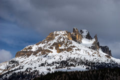 View of the Mountain above Moena. View of the Snow Covered Mountain above Moena Stock Photography