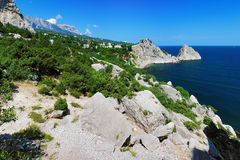 View on mountain Ai-Petri and town Simeiz. View on mountain Ai-Petri, town Simeiz and Panea and Diva rocks in Crimea, Ukraine Royalty Free Stock Photography