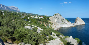 View on mountain Ai-Petri and town Simeiz Stock Image