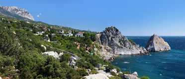 View on mountain Ai-Petri and town Simeiz. View on mountain Ai-Petri, town Simeiz and Panea and Diva rocks in Crimea, Ukraine Royalty Free Stock Images