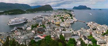 View from the mountain Aksla at the city of Alesund , Norway Stock Photo