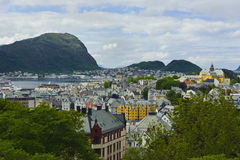 View from the mountain Aksla at the city of Alesund , Norway Royalty Free Stock Photography