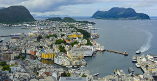 View from mountain Aksla at the city of Alesund Royalty Free Stock Photos