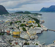 View from mountain Aksla at the city of Alesund Royalty Free Stock Photo