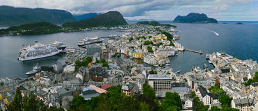 View from mountain Aksla at the city of Alesund Stock Images