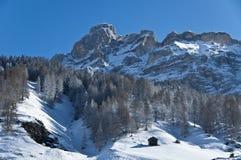 View of mountain, Alta Badia - Dolomites. Winter view of mountain, Dolomites - Italy royalty free stock photography