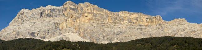 View of mountain, Alta Badia - Dolomites. Panoramic mountain views Sasso della Croce, Dolomites - Italy stock images