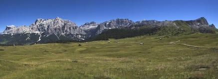 View of mountain, Alta Badia - Dolomites. Panoramic mountain views from Pralongia, Dolomites - Italy royalty free stock images