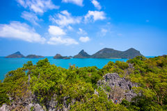 View from mountain on Angthong Marine National Royalty Free Stock Images